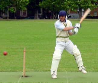 Cutting edge: Nigel Bloch early in his innings