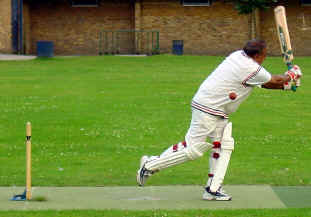 Best foot forward: Madlu is out lbw to Thornhill